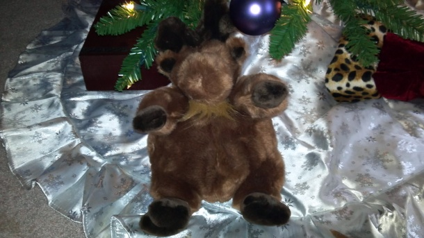 Mr. Pot Bellied Moose--stolen from the in-laws after our first Christmas together at their home.  It was not missed out of the 300+ moose collection until weeks later.