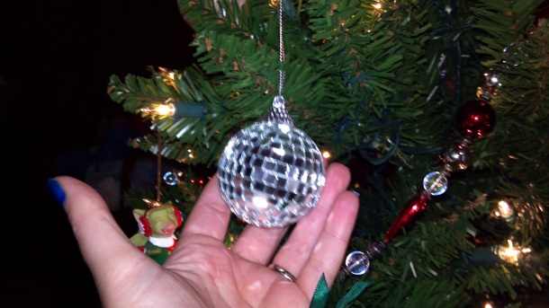 """Our second """"us"""" ornament.  Chosen for Sacco's ex-career as a DJ and his current lighting career."""